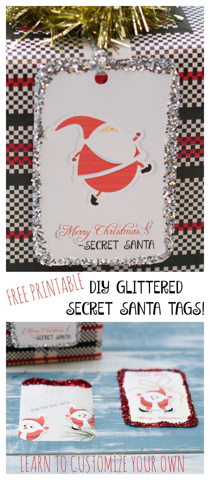 photograph regarding Secret Santa Printable titled Printable Glittered Magic formula Santa Reward Tags - Biggest Hoff
