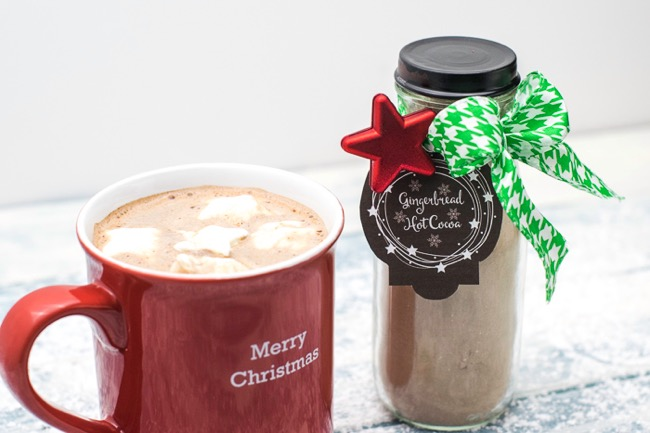 Gingerbread hot cocoa mix in a bottle and in a mug