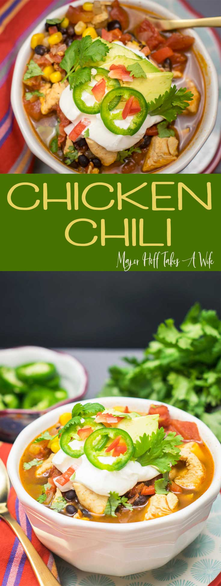 You will adore this chipotle chicken chili! A perfect recipe to warm you up! This chicken chili recipe features chipotle, black beans, corn and spices. #chili #ChickenChili #comfortfood #soup #chickenrecipes via @MrsMajorHoff via @mrsmajorhoff