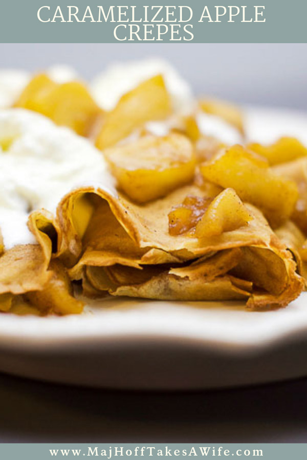 Amazing Caramelized Apple Crepe Recipe~ These caramelized apple crepes are perfect for fall. Featuring in season apples, cinnamon, ginger, cloves and nutmeg they leave your house smelling amazing. Using pre-made crepes cuts down on the mess and work time, but homemade crepes work wonderfully. Ditch just the sugar and butter and liven things up with apple slices drenched in a homemade caramel sauce! via @mrsmajorhoff