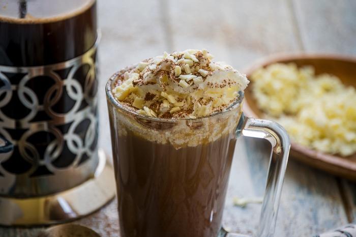 white chocolate and dark chocolate mocha