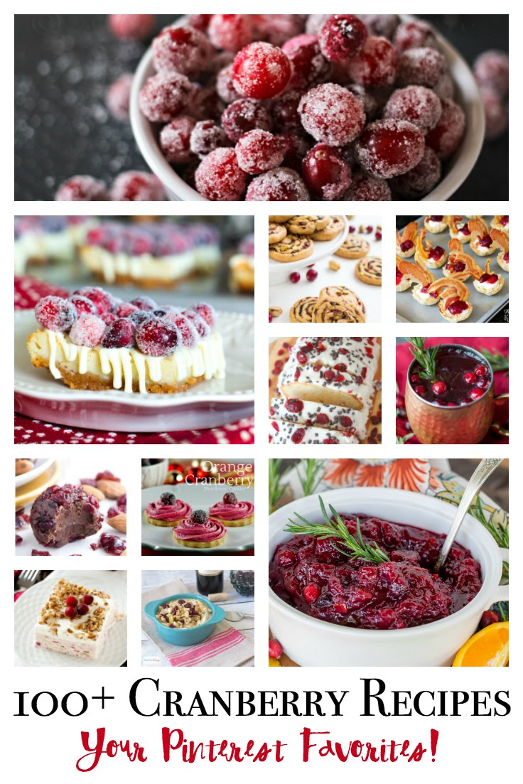 100 plus favorite cranberry recipes! Over 100 of your favorite Pinterest Cranberry recipes! From breads & bars, appetizers & drinks, cranberry sauce to cranberry fluff- all in 1 spot!