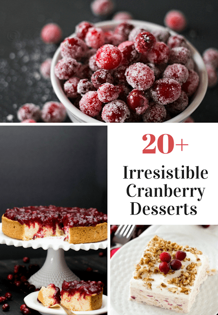 20 Plus Recipes for the BEST Cranberry Cakes Pies Tarts and Other Desserts
