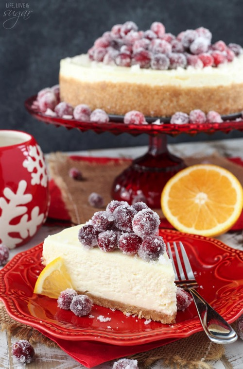 No Bake Sparkling Cranberry Orange Cheesecake