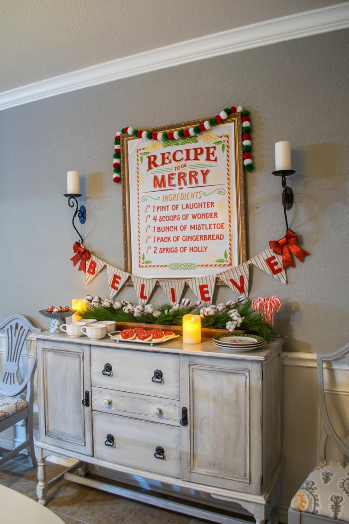 Fixer Upper Inspired buffet for Christmas