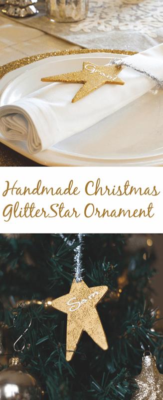 Handmade Christmas Glitter Star Ornament personalized for gift giving