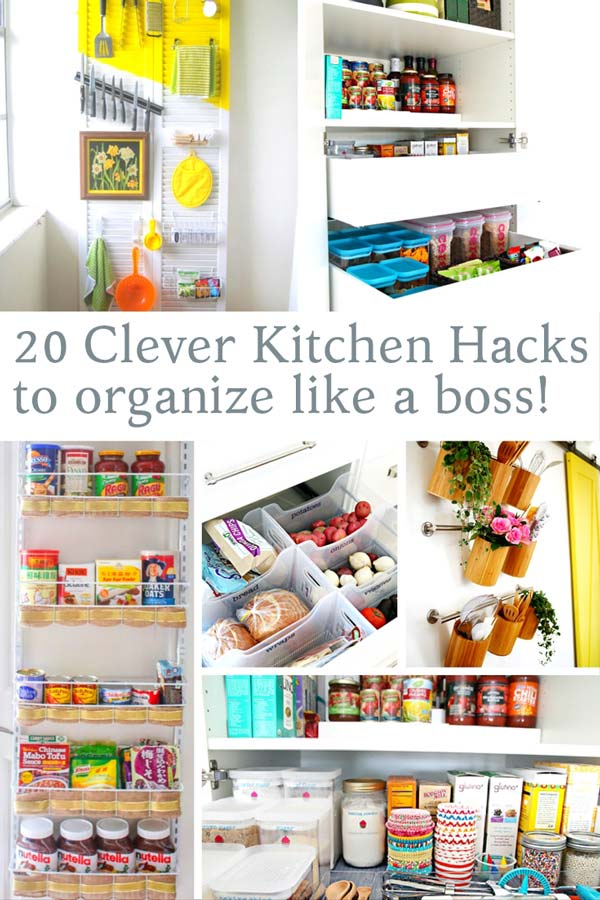 Utilize every inch of cabinetry space with these genius hacks to keep your kitchen in top notch order. Organization is the key to having a functional and enjoyable kitchen! Being organized doesn't mean breaking the bank! See all the clever ideas here! via @mrsmajorhoff