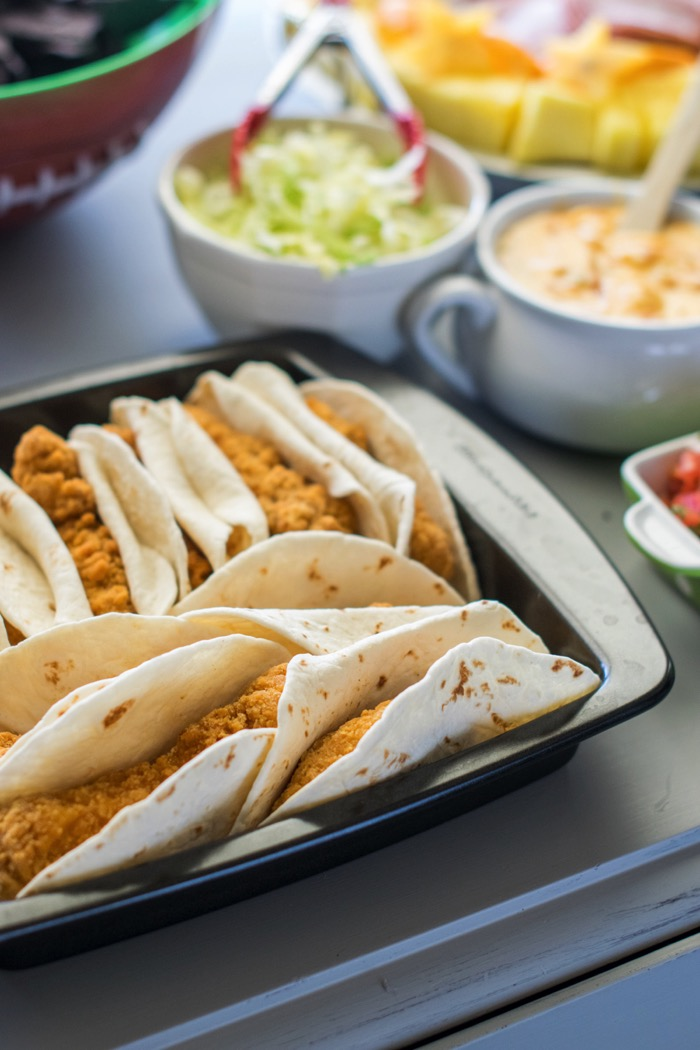 Chicken Strip Taco with Queso