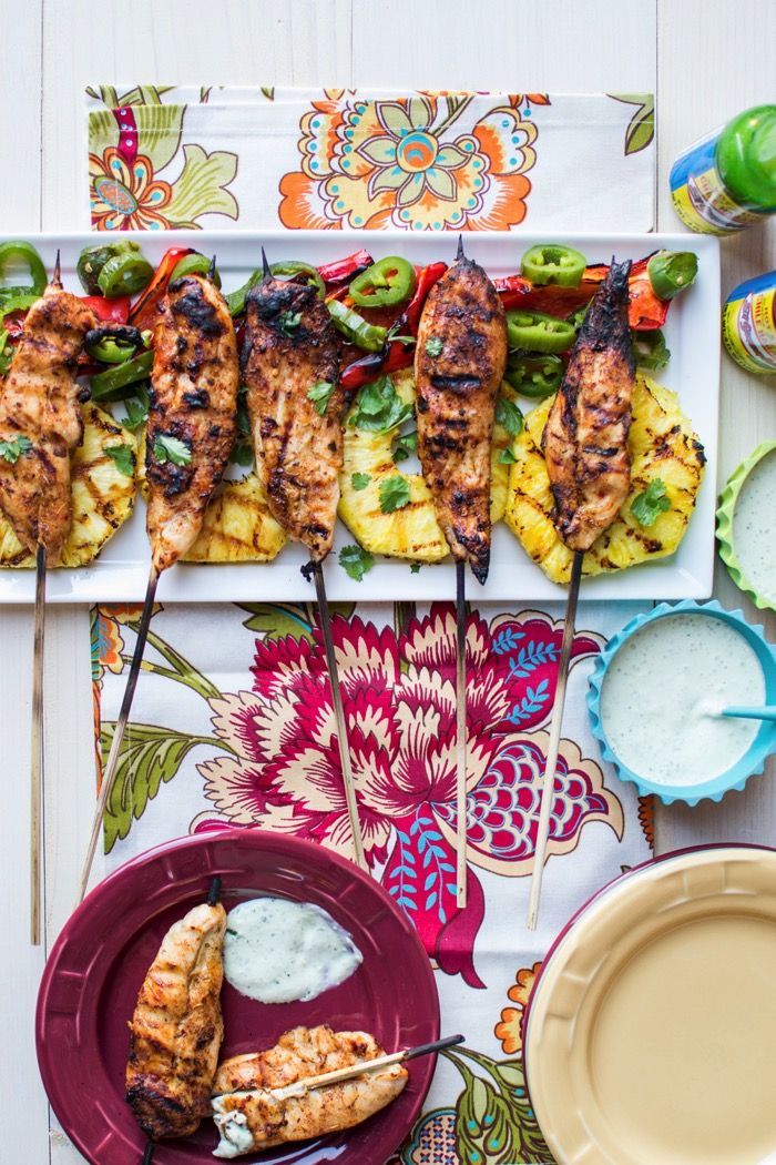 Jerk Chicken Skewers with Aioli Sauce for a party