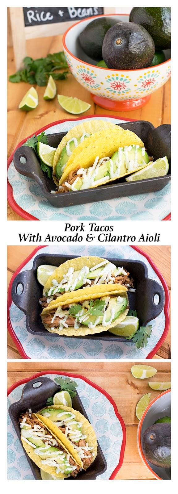 Pork Tacos with Avocado and Cilantro Aioli