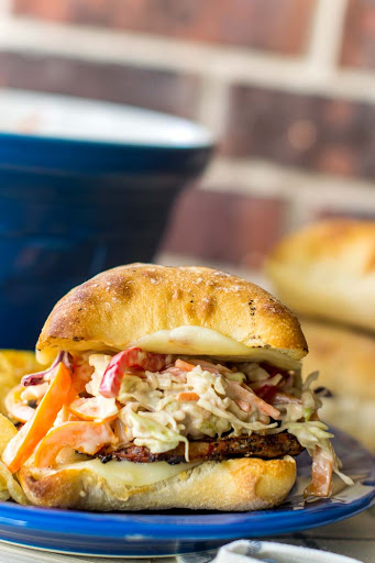 Grilled Pork Tenderloin Sandwich with Balsamic Pepper Coleslaw