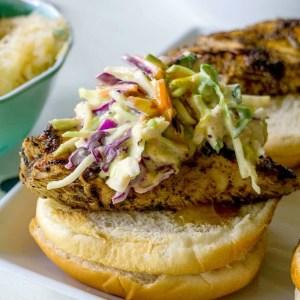 Jerk Chicken with Mango Chipotle Slaw.