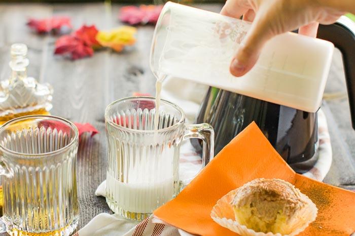 steamed milk for a latte macchiato