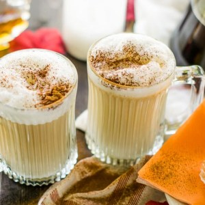maple cinnamon macchiatos served with a cupcake