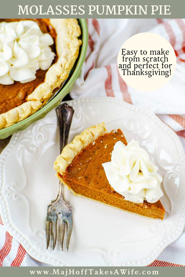 Homemade molasses pumpkin pie is a perfect traditional dessert for your Thanksgiving feast! This old fashioned pumpkin pie recipe is deceptively easy and made from scratch. The filling has the standard pumpkin pie filling with the most common spice mixture, but molasses is added in. There is no evaporated milk, another surprise gives the pie it's lift.