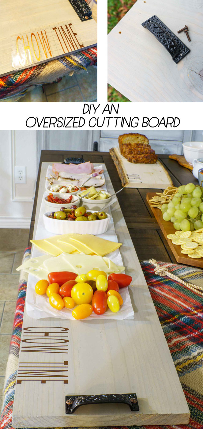DIY an OVERSIZED cutting board @DrPepper #ad #DIY #cuttingboard #buildIt #breadboard #farmhouse #cricut