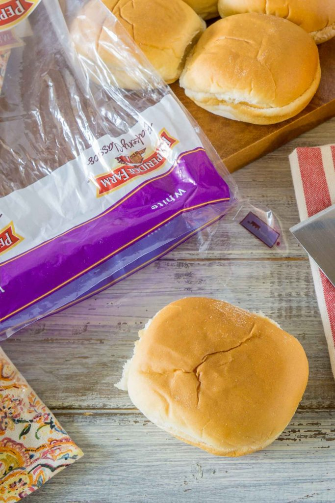Pepperidge Farm Slider Buns with Pulled bbq chicken