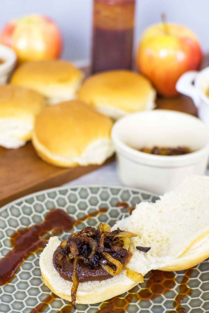 apple butter and caramelized onions on chicken sliders