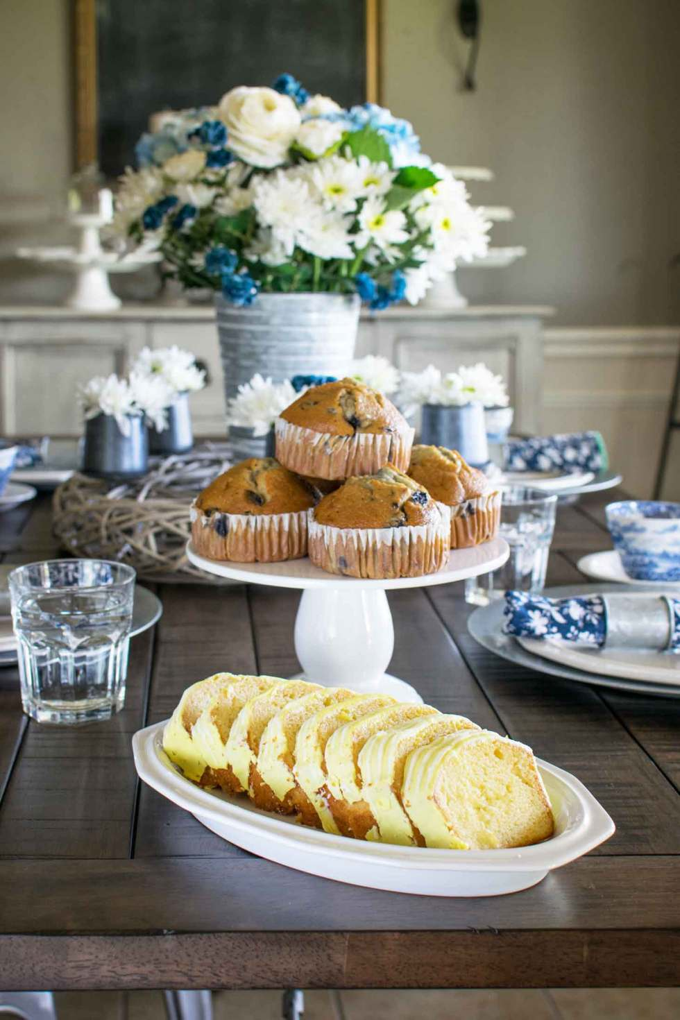 blueberry muffins for a pretty blue and white brunch decor theme