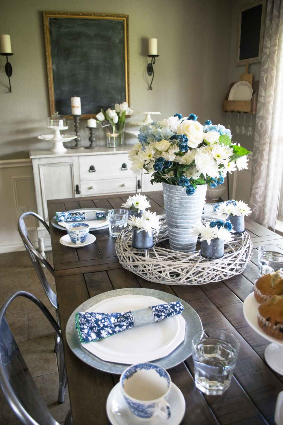 white ironstone with blue accents for a spring table