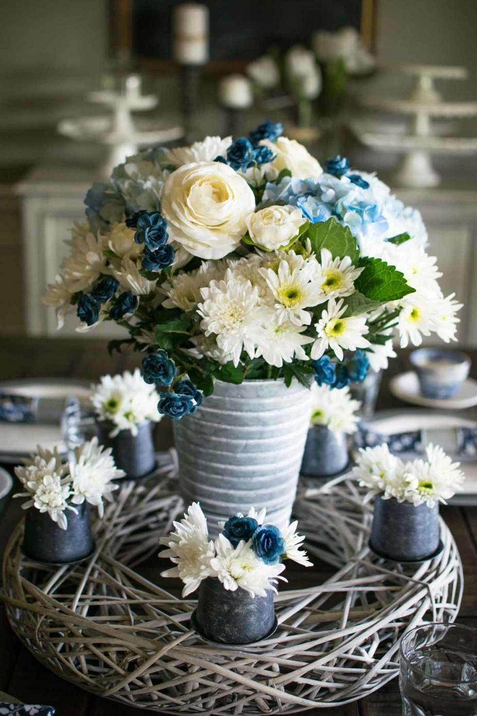 Spring floral centerpiece in blue and white