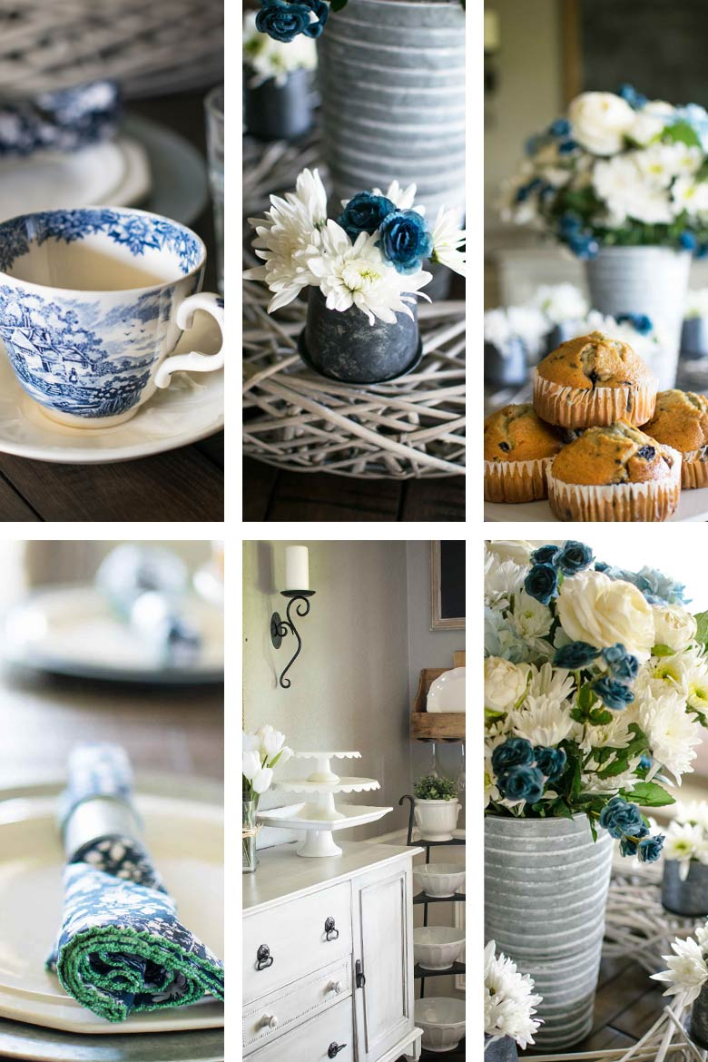 blue and white spring table