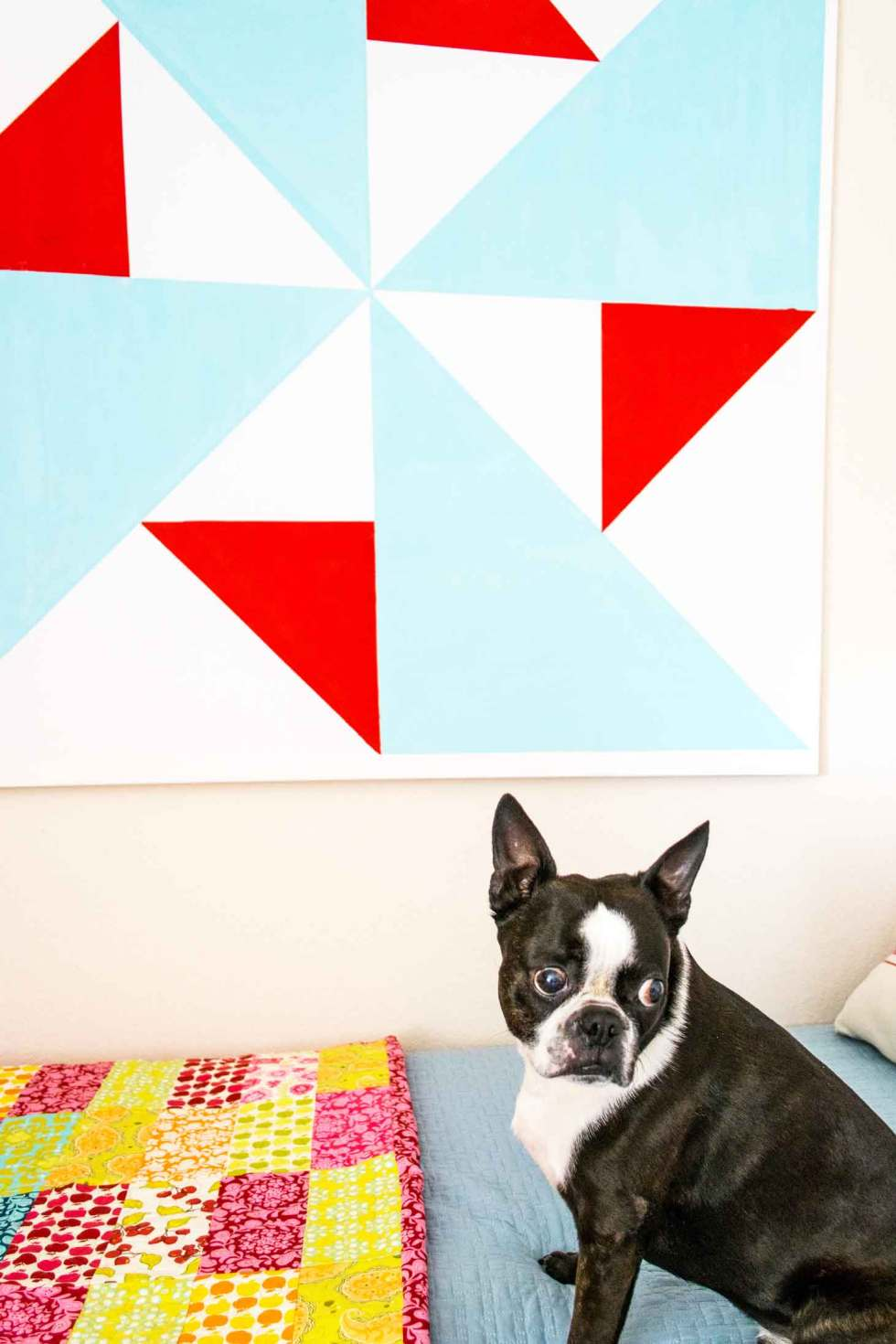 barn quilt wall art on a DIY canvas