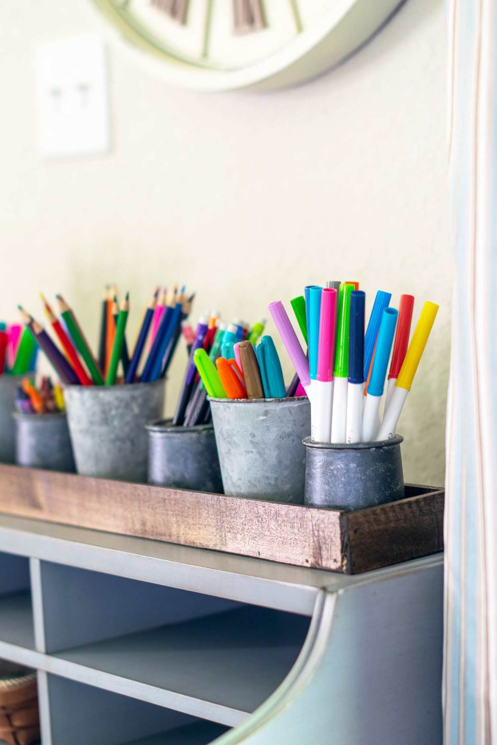 farmhouse style kids art caddy