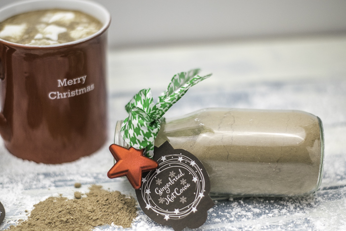A small ornament, ribbon, and gift tags for hot chocolate gifts
