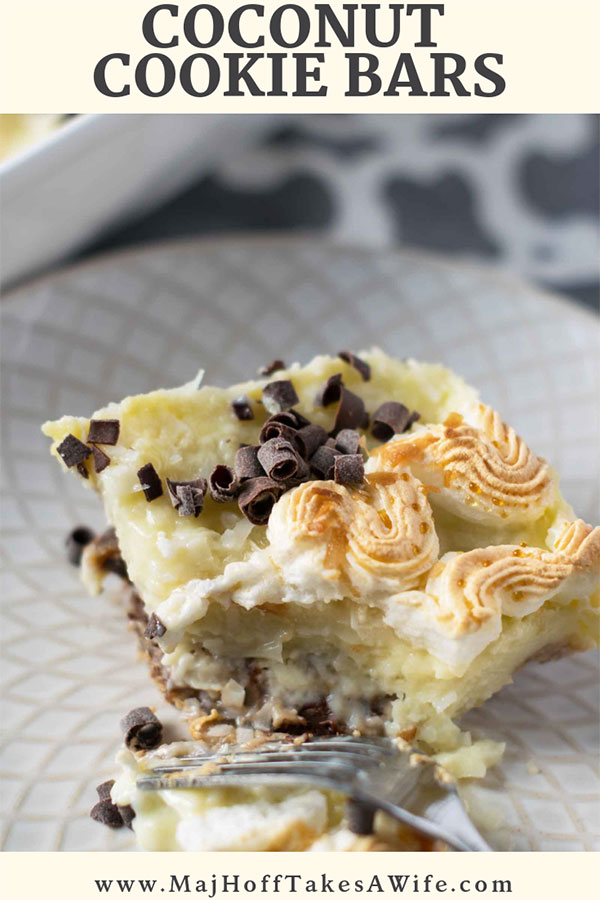 These easy coconut cookie bars will help you prefect your cooking skills. Save time by baking a pre-made cookie dough crust, master the art of making a custard, and pipe a meringue topping to make it a showstopper. Perfect for the Holidays, or year round! One of our families favorite desserts! #coconut #cookiebars #desserts #MHTAW via @mrsmajorhoff