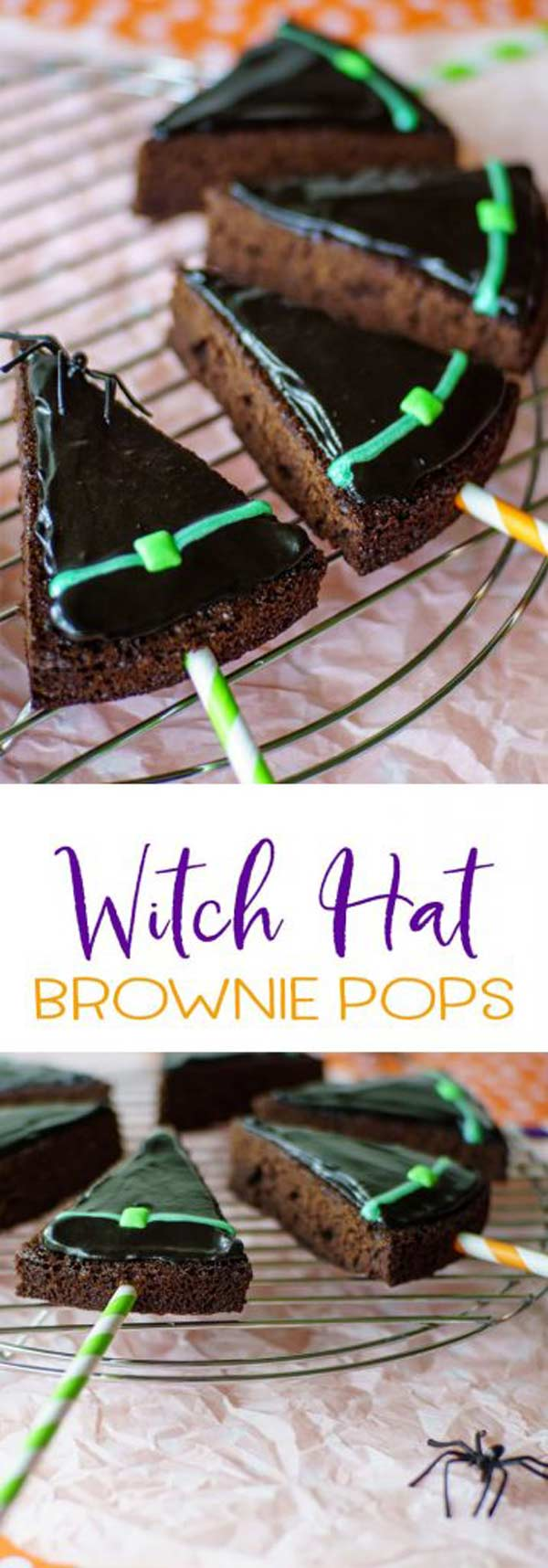 Witch hat brownie pops will be the hit of your Halloween party! Simple to make with a box brownie mix, fast frosting, and an easy piping method! #Halloween #Halloweendesserts #Halloweenparty #MHTAW via @mrsmajorhoff