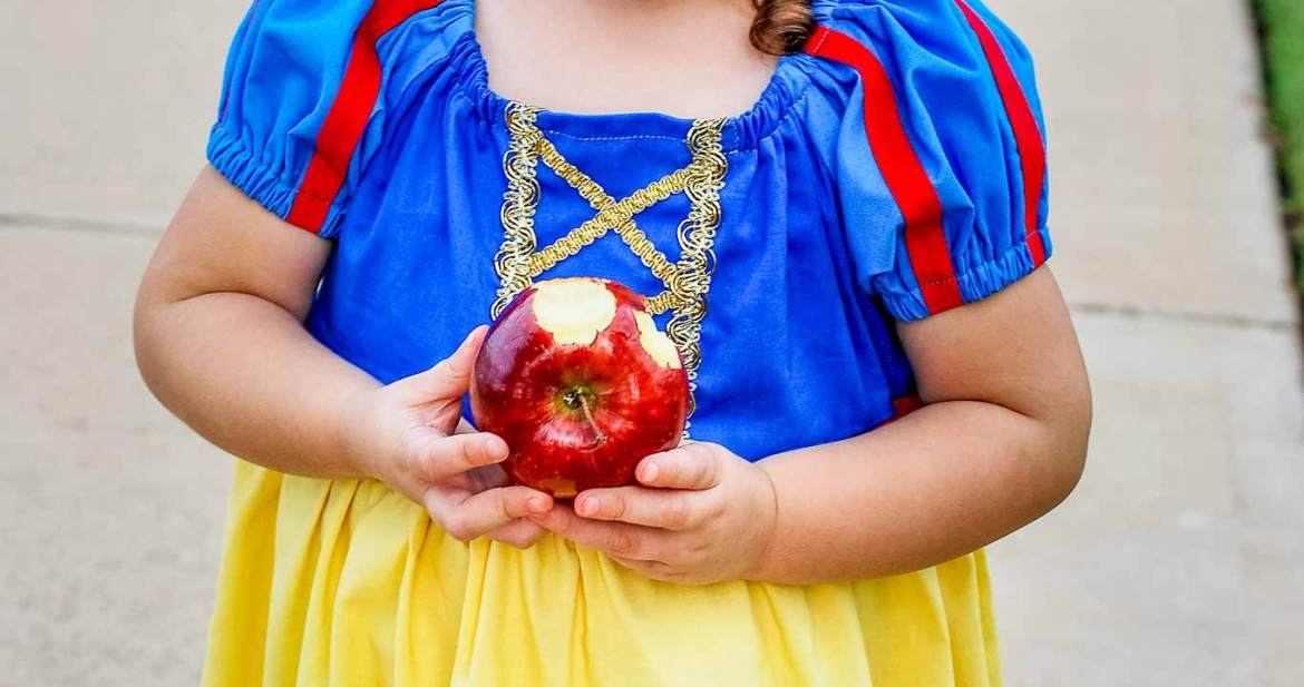 Snow White toddler costume that is sewn from a peasant dress pattern