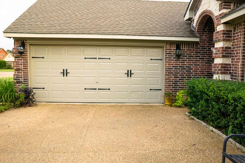 Genial Two Sets Of Carriage Door Hardware On A Double Wide Roll Up Garage Door