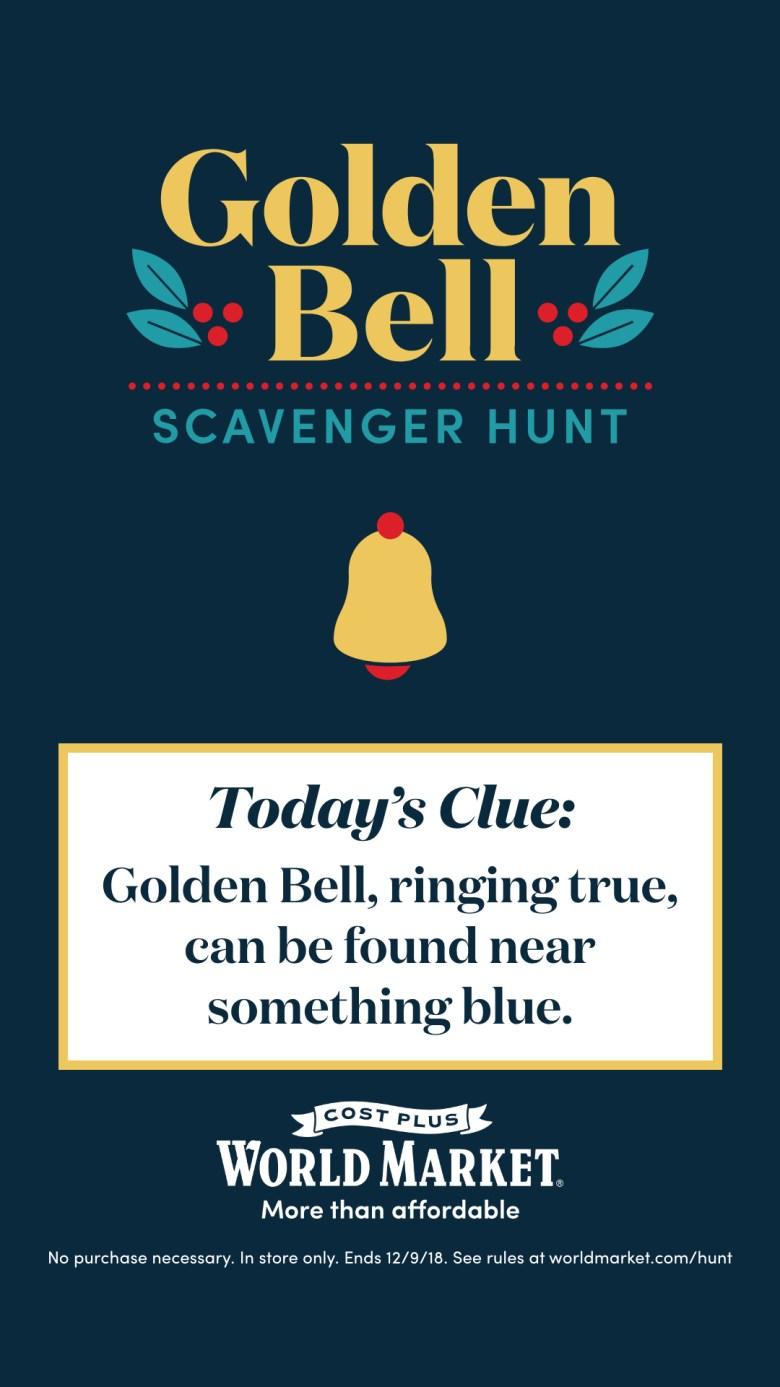 Golden Bell Scavenger Hunt at World Market Day 1 clue
