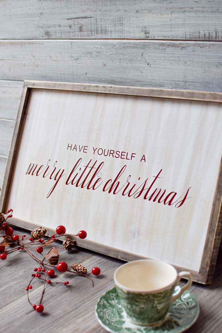farmhouse wooden christmas sign made with a cricut and an SVG file