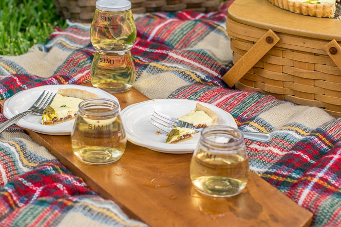 Wine and an onion tart are perfect for an outdoor picnic starter