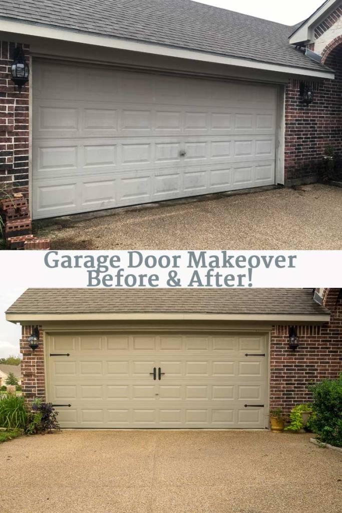 DIY garage door makeover before and after photo