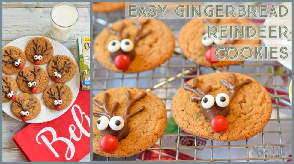 Easy Gingerbread reindeer cookies