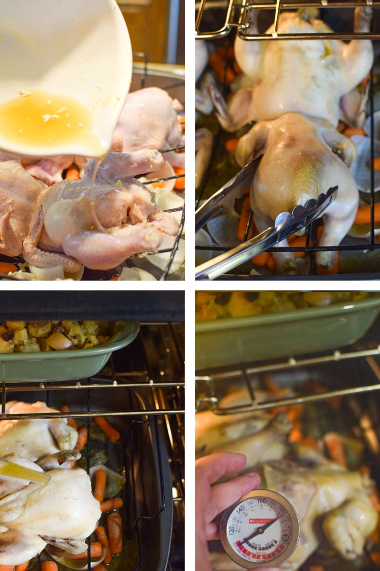 Roasting cornish game hens in the oven by turning, basting and checking the temperature