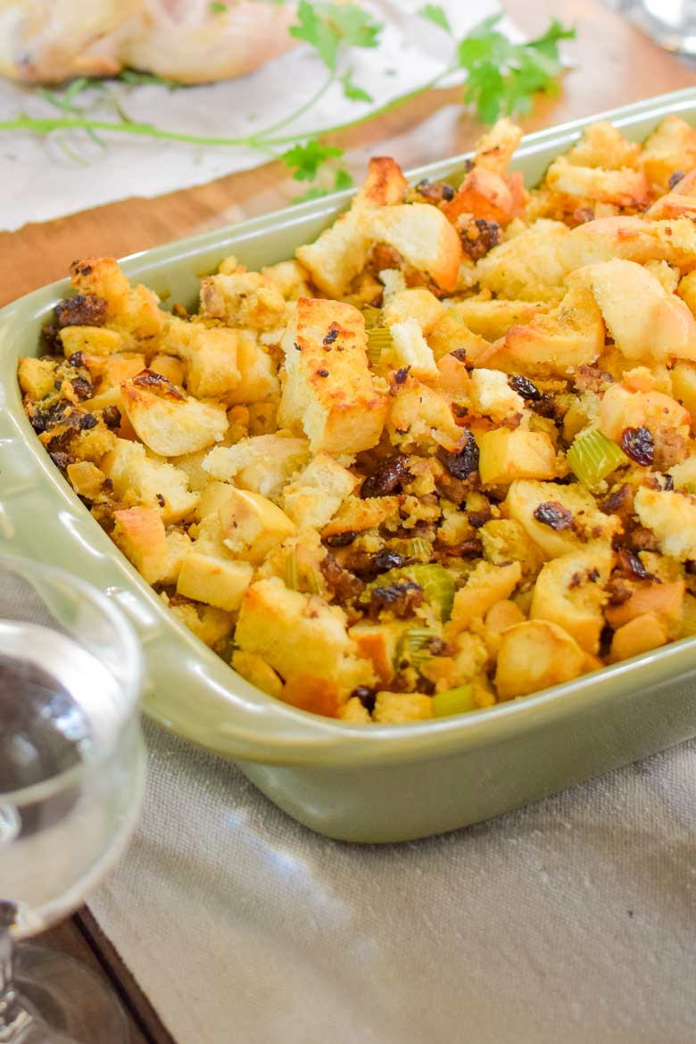 Seasoned stuffing and sausage makes an excellent side dish for Thanksgiving or to a main dish during the winter