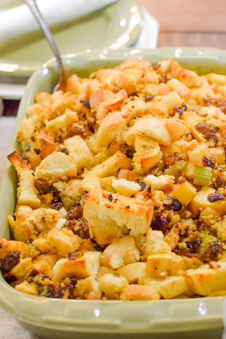 large bread cubes are the key ingredient to this stuffing