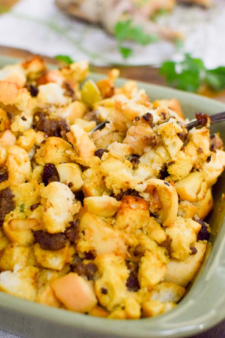 Herb stuffing with pork sausage in a baking dish