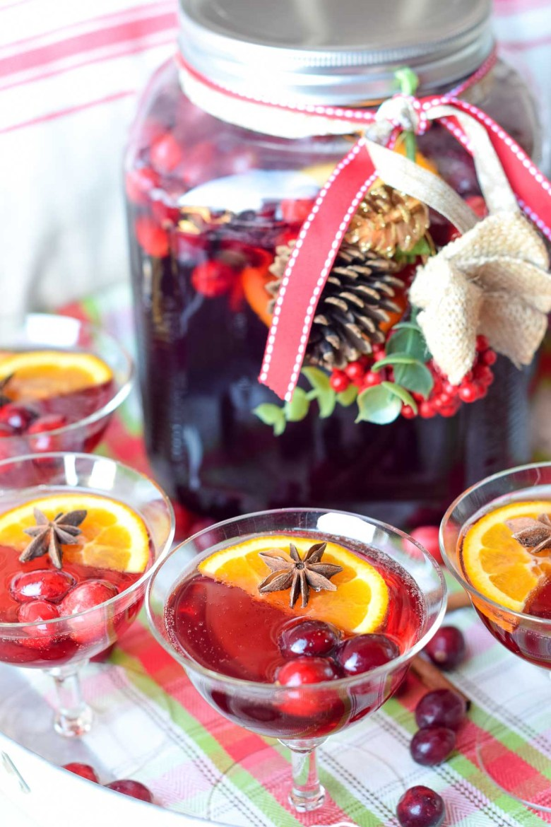 cranberry ginger christmas punch can be made with or without alcohol by adding vodka or rum to individual glasses or included straight into the punch bowl