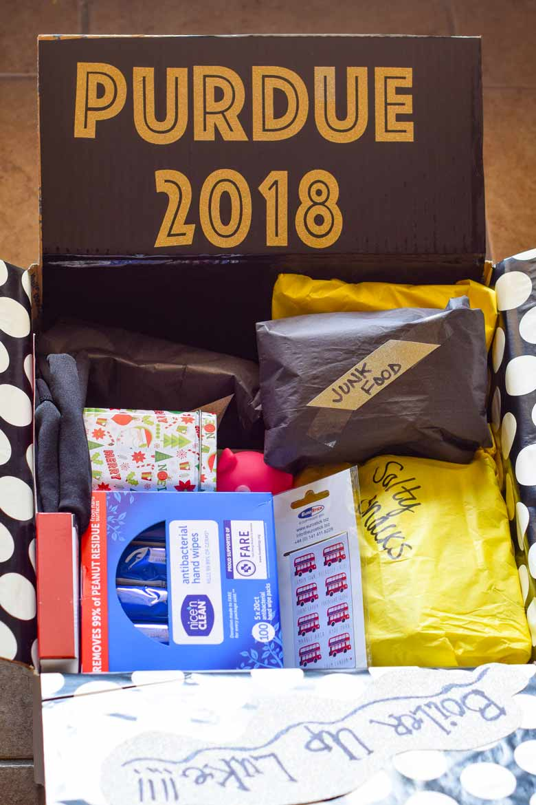 A finals care package for a purdue student