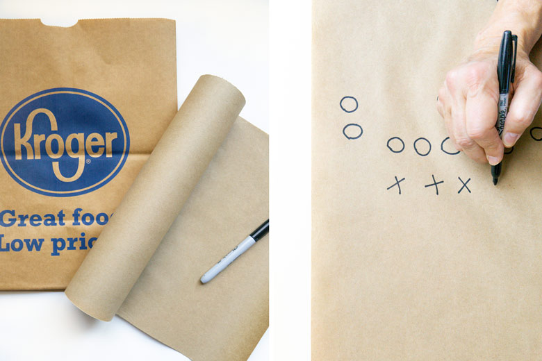 drawing a football player on craft paper for a table runner