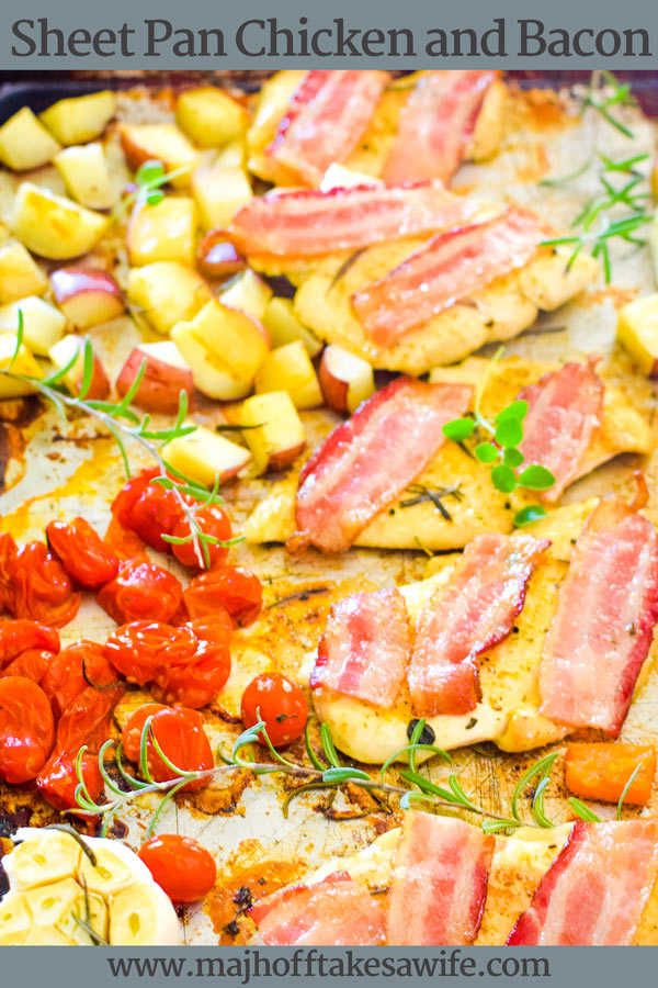 This sheet pan chicken and bacon dinner is so easy to prepare! Bacon slices, potatoes, veggies and your favorite cut of chicken (thighs, strips, etc) are baked in the oven for a healthy Keto style meal. Bacon lends its flavor to one of the easiest dinner recipes around! via @mrsmajorhoff