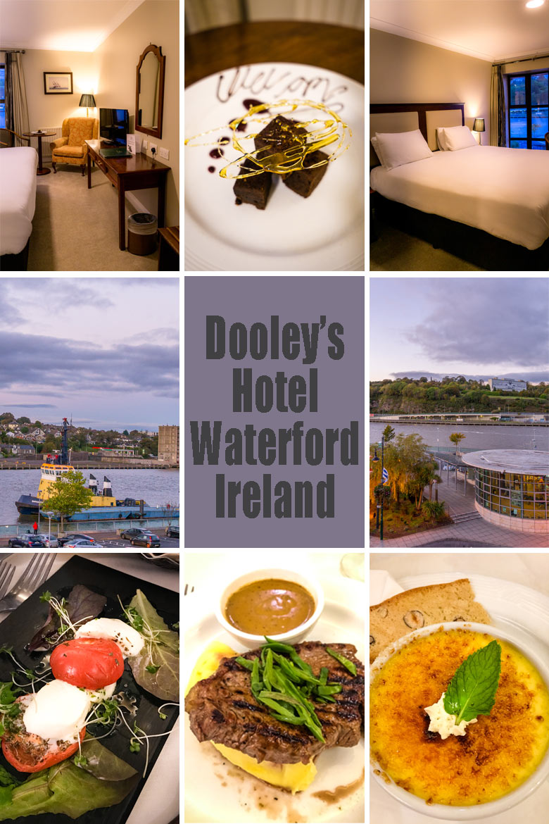 Dooley's hotel in Waterford Ireland has waterfront views, and a restaurant that serves steak and creme brulee