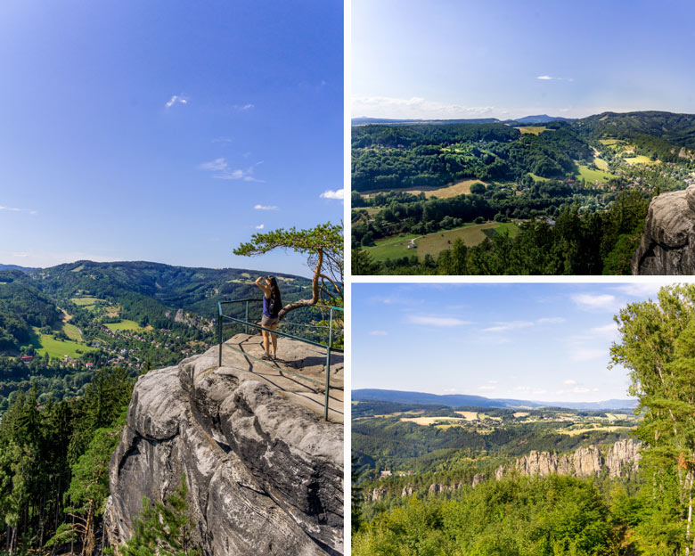 views atop rocks during a hike in Bohemian Paradise