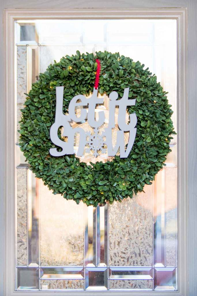 Let it Snow boxwood wreath