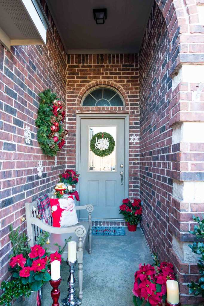 Long skinny covered entryway with holiday decor